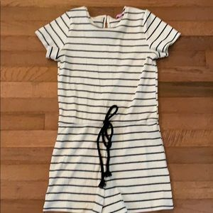Pink Lily ribbed white and black stripe romper